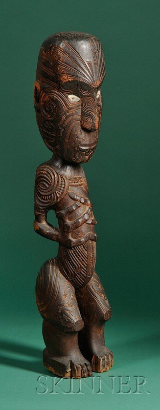 203: Maori Carved Wood Male Figure, New Zealand, 19th c