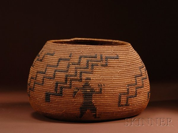 423: California Coiled Basketry Bowl, c. 1900, tapered