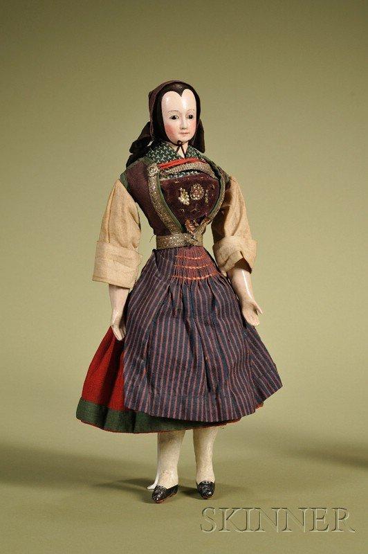 2: Rare Papier-mache Doll with Molded Bonnet, attribute