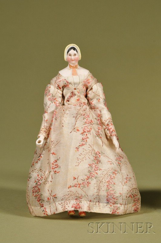 4: Rare Molded Bonnet China Lady with Wood Body, German