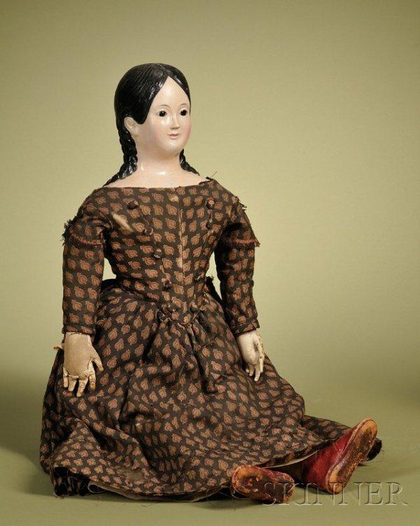 8: Papier-mache Lady with Glass Eyes, Germany, c. 1840,