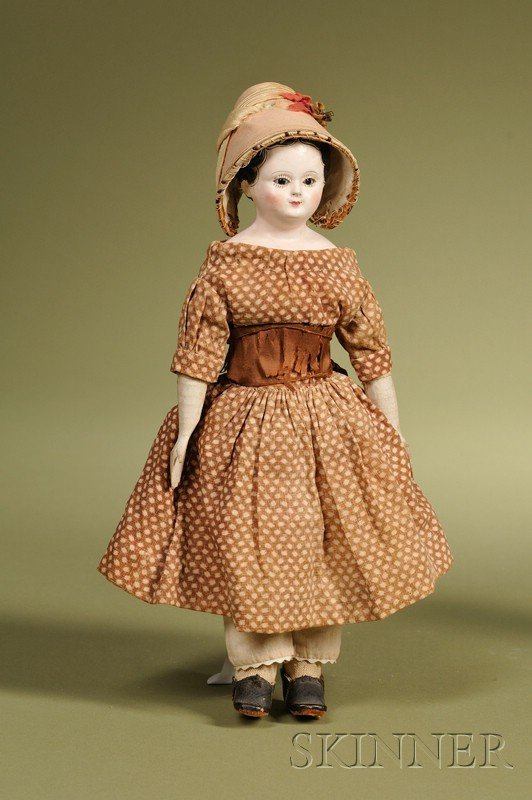 10: Small Papier-mache Child with Glass Eyes, Germany,