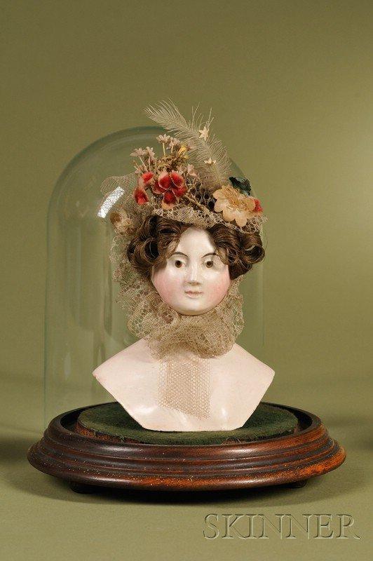 14: Rare Papier-mache Doll's Head, Germany, c. 1850, pa