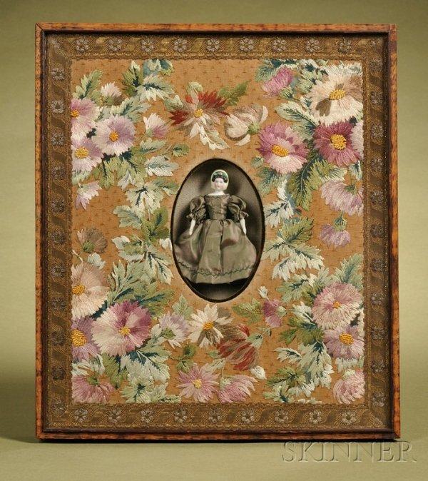 18: Bonnet Head Parian Doll in Frame, late 19th century