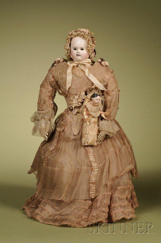20: French Papier-mache Lady, c. 1850, papier-mache sho