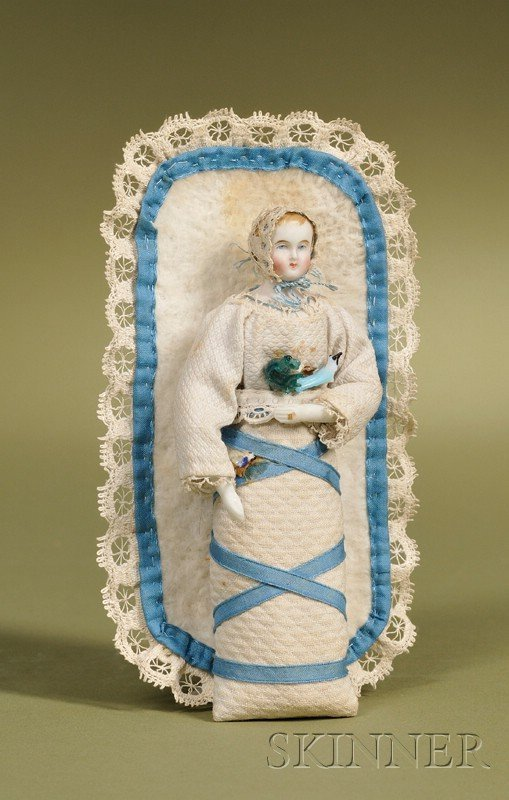 23: Parian Swaddling Baby, Germany, c. 1860, untinted b