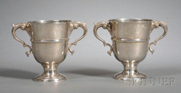 5: Pair of Irish George II Silver Two-Handled Cups, Dub