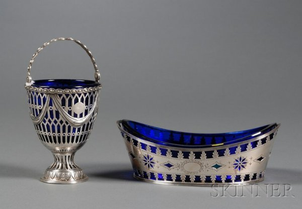 10: Two English Silver and Cobalt Glass-lined Table Art