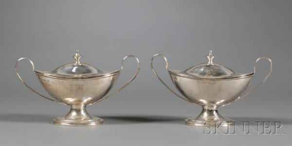 18: Pair of George III Silver Covered Sauce Tureens, Lo
