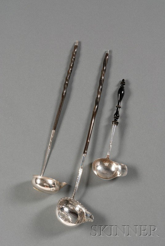 22: Three Silver Toddy Ladles, England/Sweden, two Engl