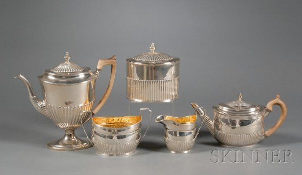 23: Assembled Five Piece George III Silver Tea and Coff