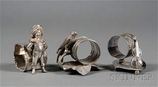 204: Three American Victorian Silverplate Figural Napki