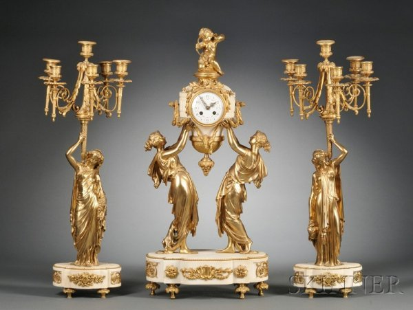 616: Three Piece Louis XV-style French Bronze and Alaba