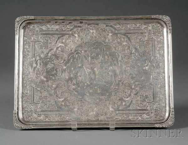 4: Silver Tray, Persia, late 19th/early 20th century, r