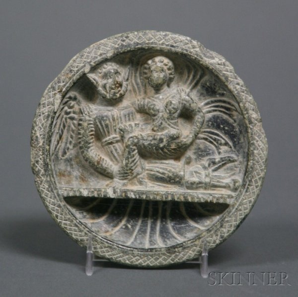 6: Cosmetic Palette, Gandhara, 2nd century B.C., carved