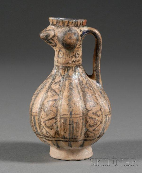 7: Pottery Ewer, Persia, 12th century, Ravy ware, anima