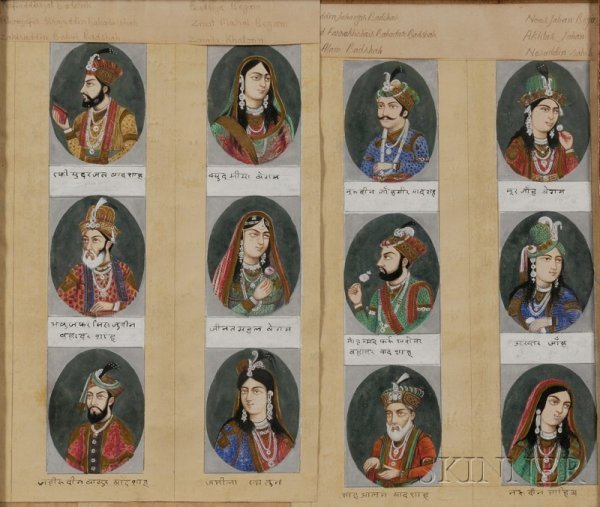 9: Two Framed Groups of Indian Miniature Paintings, 19t