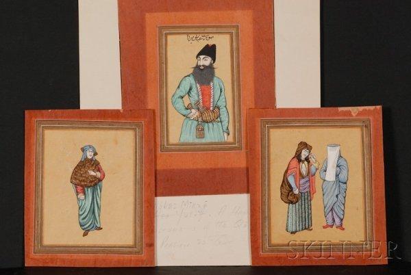10: Three Persian Miniature Paintings, Qajar period, ea