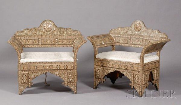 11: Pair of Chairs, Syria, 20th century, geometric inla