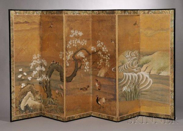 93: Six Panel Folding Screen, Japan, 18th/19th century,