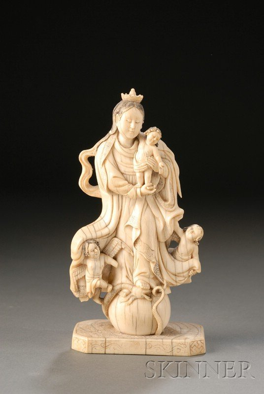 129: Ivory Carving of the Holy Family, Goa, India, 18th