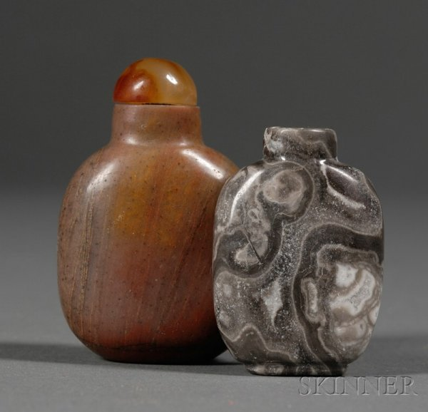 503: Two Snuff Bottles, China, 19th century, gray agate