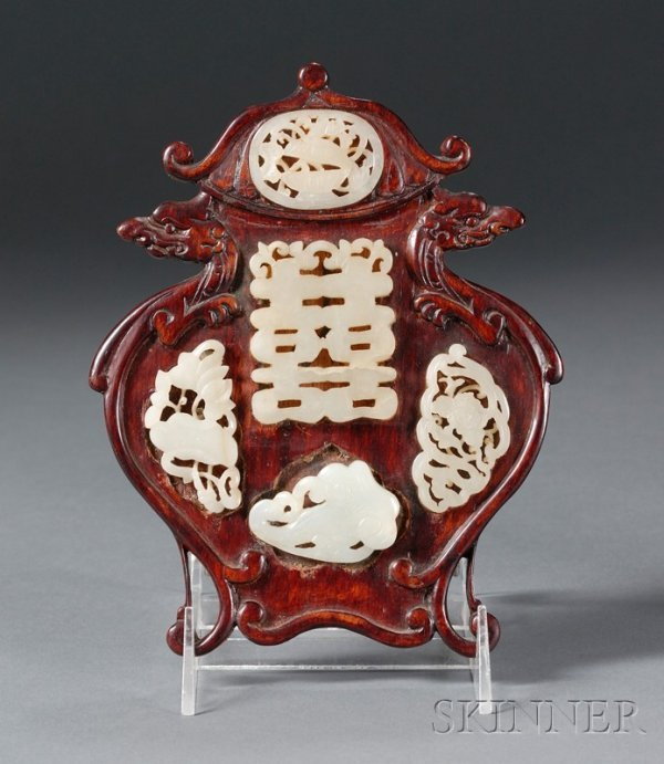511: Carved Wooden Plaque Inlaid with Jade Pendants, Ch