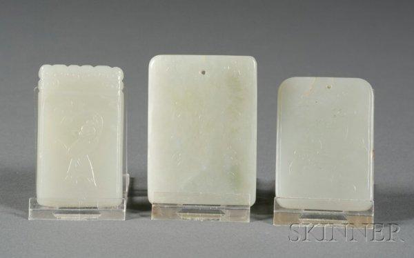 514: Three Rectangular Jade Plaques, celadon color, one