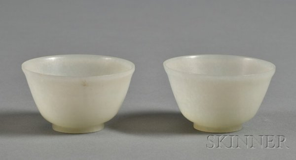 518: Pair of Jade Cups, highly translucent pale green s