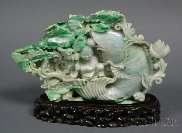 522: Jade Carving, China, 20th century, green stone wit