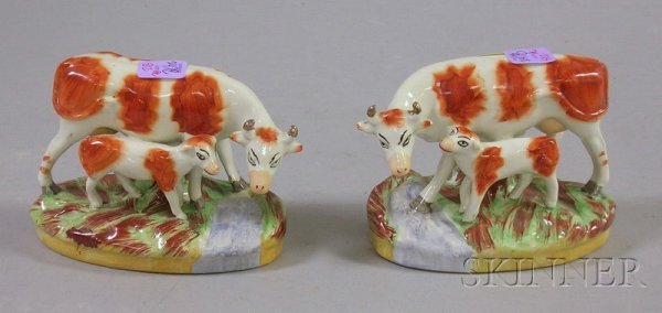 502: Pair of Staffordshire Hand-painted Cow and Calf Fi