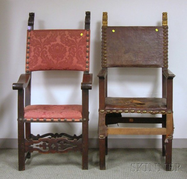 505: Two Continental Upholstered Carved Wood Armchairs,