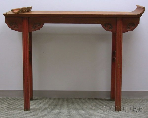 506: Asian Red-painted Carved Wood Altar Table, ht. 46