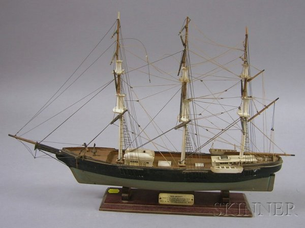 508: Small Painted Wooden Three-masted Sailing Ship Mod