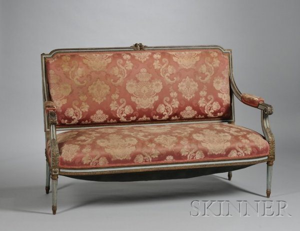 513: Louis XVI Style Damask Upholstered Carved and Pain
