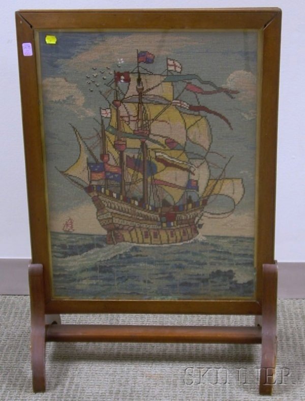 522: Wood Framed Firescreen with Needlepoint Sailing Sh