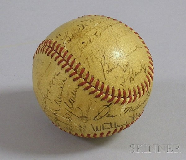 1: 1942 Brooklyn Dodger Team Autographed Baseball, incl
