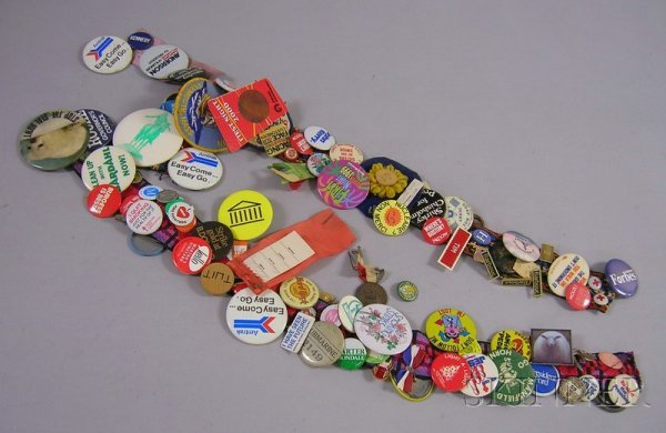 14: Collection of Mostly 1970s-90 Buttons and Ribbons,