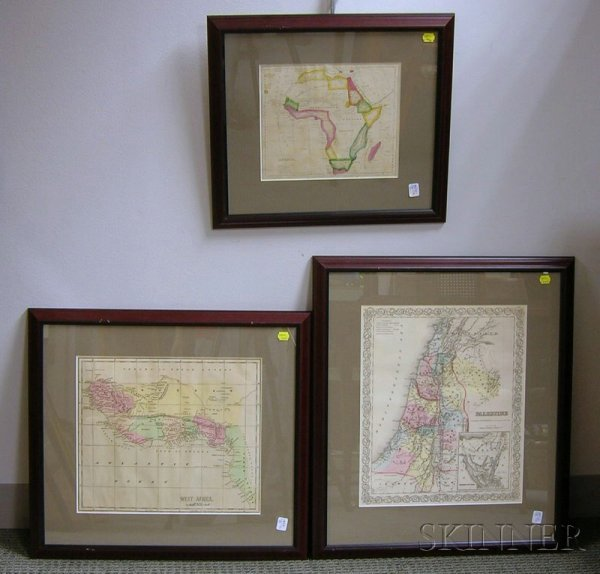 19: Five Miscellaneous Framed Maps, 19th century, inclu
