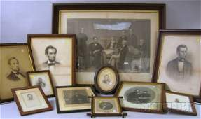 108 Eighteen Framed Assorted 19th Century Abraham Linc