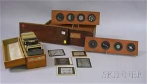 190: Set of Twelve Wood-framed Hand-colored Glass Four-
