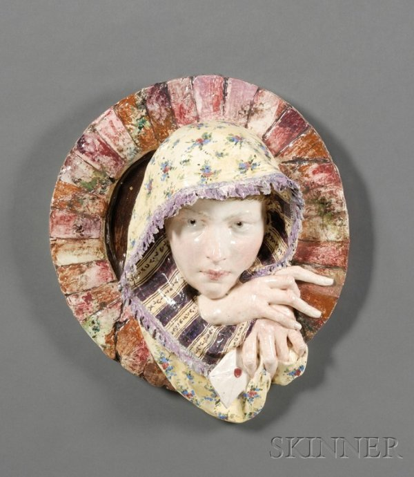 4: Earthenware Wall Plaque of a Girl, 19th century, pol