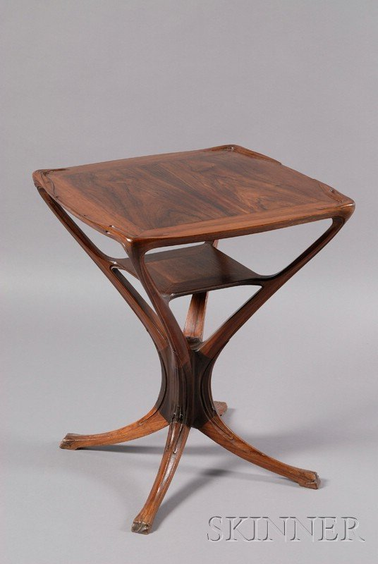 6: Art Nouveau Carved Rosewood Side Table, c. 1895,