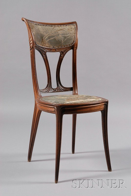 7: French Art Nouveau Carved Rosewood Side Chair, c. 19