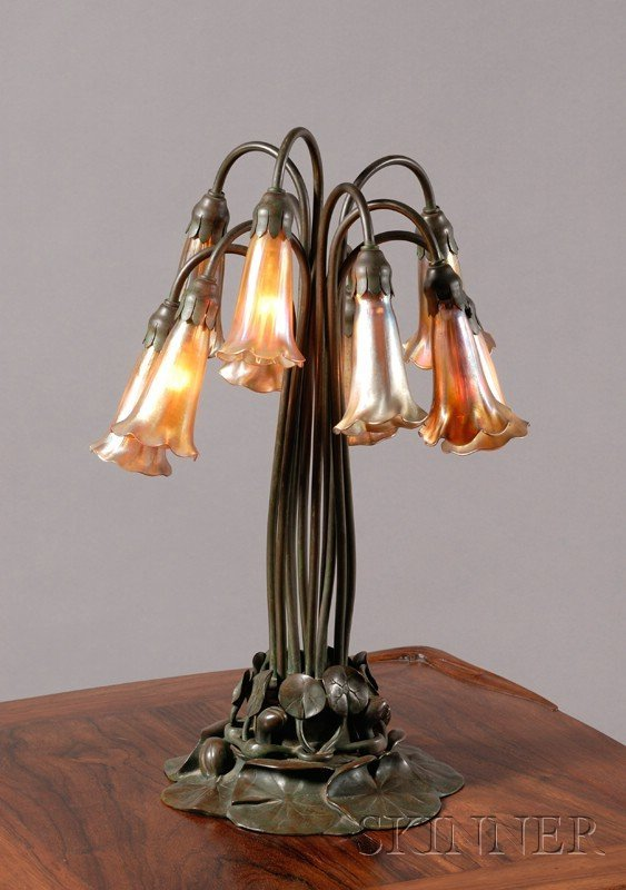 12: Tiffany Studios Ten-light Favrile Glass and Green-