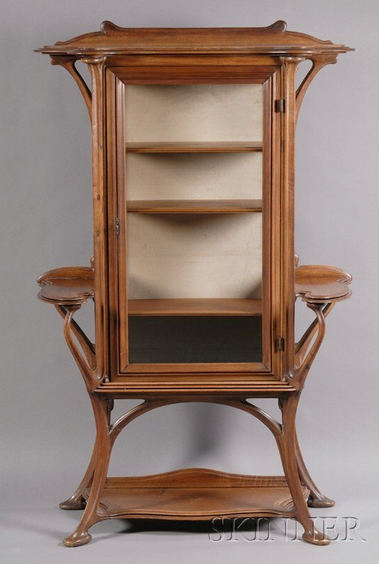 16: French Art Nouveau Walnut Etagere Attibuted to Gust