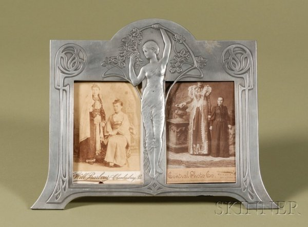 19: Jugendstil Pewter Double Picture Frame with Two Cab