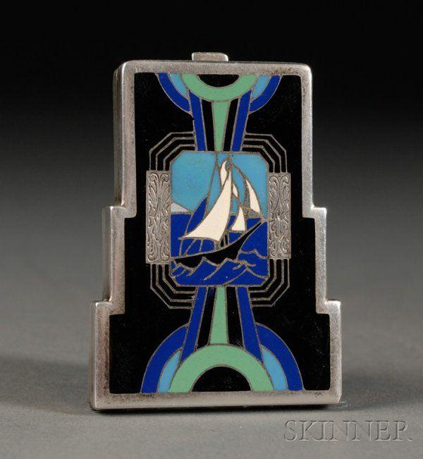 556: Art Deco Enameled Silver Compact, c. 1930,