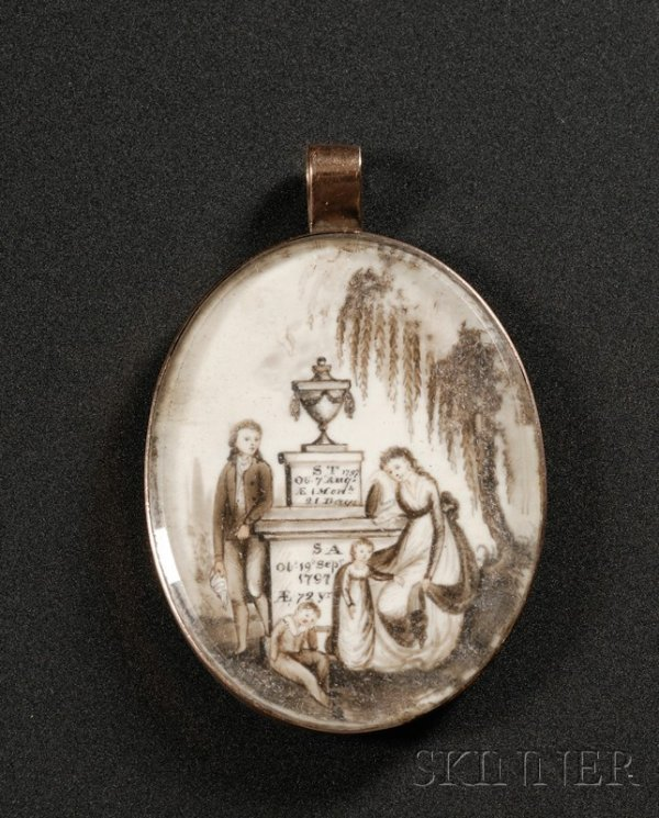2: Painted Ivory Mourning Pendant, c. 1800, oval gilt-b