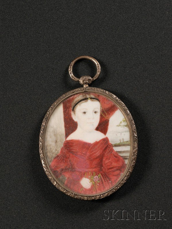 4: Portrait Miniature of a Girl in Red Holding a Flower
